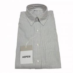 ASPESI camicia uomo mod B.D.MAGRA tessuto oxford bianco riga grigia 100% cotone