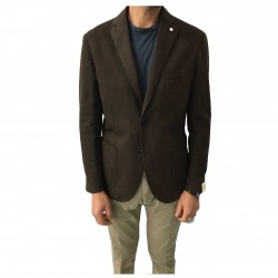 L.B.M 1911 black unlined men's jacket, 67% cotton 33% flax regular slim fit