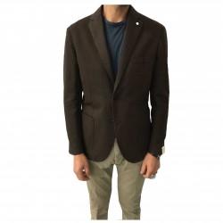 L.B.M 1911 giacca uomo sfoderata moro 67% cotone 33% lino vestibilità regular slim