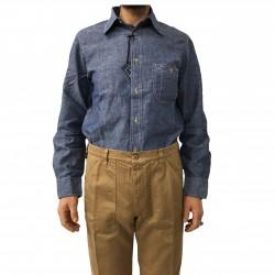 MANIFATTURA CECCARELLI camicia uomo chambray blu mod 703 QA 45%cotone 55%lino