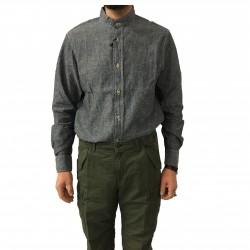 MANIFATTURA CECCARELLI camicia uomo chambray nera mod 705 QA collo guru