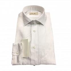 ICON LAB 1961 camicia uomo bianca manica lunga 100% lino vestibiità slim