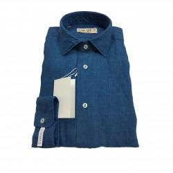 ICON LAB 1961 camicia uomo azzurro scuro manica lunga 100% lino vestibiità slim