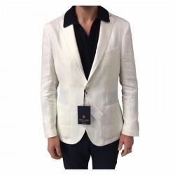 ROYAL ROW giacca uomo sfoderata panna mod LONDON G90S vestibilità slim 100% lino