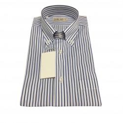 ICON LAB 1961 Men's Half Sleeve Shirt Blue / Light Blue 100% Cotton Regular Fit