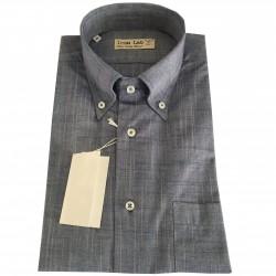 ICON LAB 1961 camicia uomo mezza manica bluchiar fiammata 100% cotone regular fit