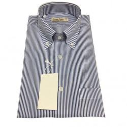 ICON LAB 1961 camicia uomo mezza manica Righe bianco/blu 100%cotone regular