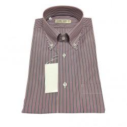 ICON LAB 1961 camicia uomo mezza manica Righe blu/bordeaux/bianco 100% cotone