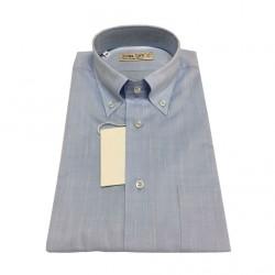ICON LAB 1961 camicia uomo mezza manica celeste fiammata 100%cotone regular fit