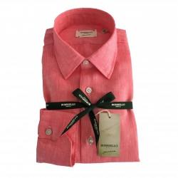 BORRIELLO NAPOLI shirt coral man 100% linen MADE IN ITALY