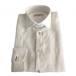ICON LAB 1961 camicia uomo bianca manica lunga 100% lino regular slim asola colorata