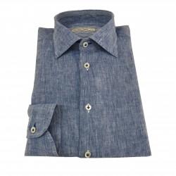 ICON LAB 1961 camicia uomo azzurro fiammato manica lunga 100% lino regular slim asola colorata