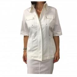 ELENA MIRÒ giacca donna mezza manica bianca con zip a scomparsa 96% cotone
