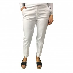 ASPESI pantalone donna bianco mod H106 98% cotone 2% elastan lunghezza caviglia