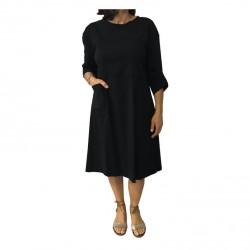 TADASHI abito donna nero, lacci bianco e ricambio nero, 70%viscosa 26%poliammide