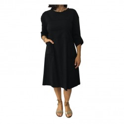 TADASHI woman dress black,white laces and black replacement, 70% viscose 26% polyamide
