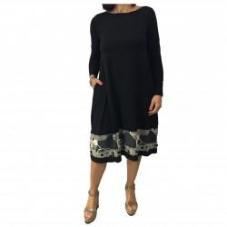 TADASHI abito donna manica lunga nero inserti fantasia MADE IN ITALY