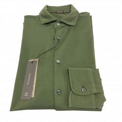 FERRANTE camicia uomo manica lunga verde 100% cotone MADE IN ITALY