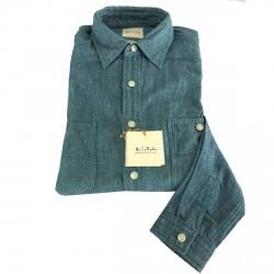 M.I.D.A camicia uomo manica lunga DENIM 75% cotone 25% lino JAPANESE FABRIC
