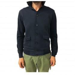 ALPHA STUDIO bomber uomo blu, felpa garzata + maglia, modello AU-5021ES
