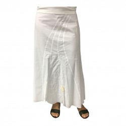 PERSONA by Marina Rinaldi white woman skirt with ecru applications, model LENTINA 100% cotton