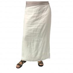 PERSONA by Marina Rinaldi long woman skirt with ivory pattern ALBENGA 100% linen