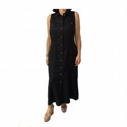 ELENA MIRÒ abito donna lungo con bottoni nero 100% lino