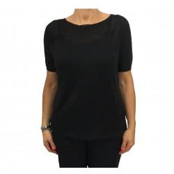 MARINA SPORT by Marina Rinaldi woman black mesh half sleeve mod ADDETTO 60% linen 40% viscose
