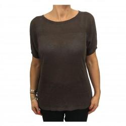 MARINA SPORT by Marina Rinaldi woman brown mesh half sleeve mod ADDETTO 60% linen 40% viscose
