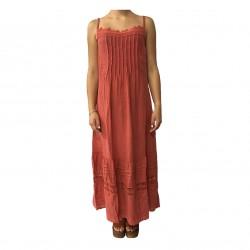 HUMILITY 1949 abito donna lungo corallo 100% lino MADE IN ITALY