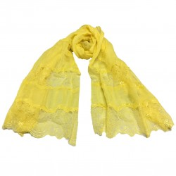 MUTIYAAR yellow woman's scarf with lace in color MADE IN INDIA