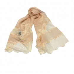MUTIYAAR peach woman's scarf with lace in color MADE IN INDIA