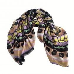 100x200 sciarpa donna mod VISIONE blu/giallo/glicine/pesco 100% modal