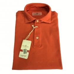 DELLA CIANA polo uomo mezza manica arancio 100% cotone vestibilita slim