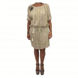 HUMILITY 1949 abito donna righe ecru/giallo 100% lino MADE IN ITALY