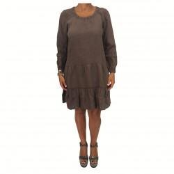 HUMILITY 1949 abito donna manica lunga moro 100% lino MADE IN ITALY