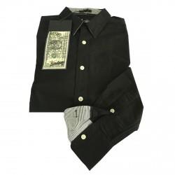 VINTAGE 55 linea GANGS OF NEW YORK camicia uomo nero con dettagli righe 100% cotone