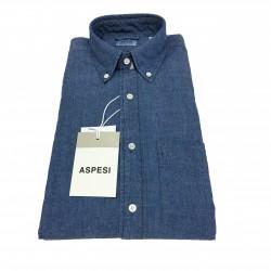 ASPESI men's denim shirt B.D. MAGRA CE14 E542 button down and pocket 100% cotton