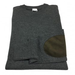 ASPESI gray melange man knit with brown alcantara patches M174 3965