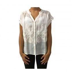CA' VAGAN blusa woman ivory 100% linen