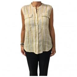 HUMILITY 1949 blusa donna senza maniche ecru/senape 100% lino MADE IN ITALY