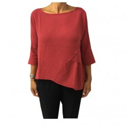 HUMILITY 1949 blusa donna rosso scuro 100% cotone MADE IN ITALY