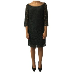 LA FEE MARABOUTEE woman dress green lace 50% cotton 35% viscose 15% polyamide MADE IN ITALY