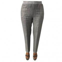 MYLAB pantalone donna con elastico grigio used 100% lino MADE IN ITALY