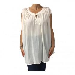 MY SUNDAY MORNING blusa donna over avorio senza manica mod NOAH 52% viscosa