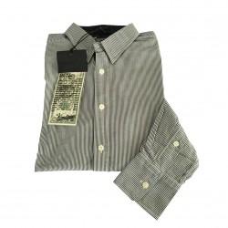 VINTAGE 55 camicia uomo linea GANGS OF NEW YORK righe bianco/nero 100% cotone