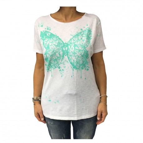 LA FEE MARABOUTE t-shirt half-sleeve white women 100% cotton MADE IN ITALY