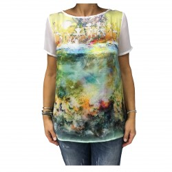 LA FEE MARABOUTEE blusa donna fantasia 100% poliestere MADE IN ITALY
