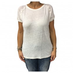 MY SUNDAY MORNING t-shirt donna avorio mod BECK 100% lino