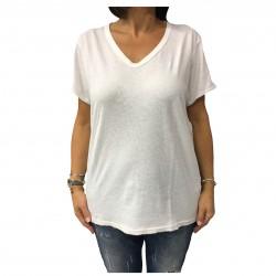 MY SUNDAY MORNING t-shirt donna avorio con scritta blu posteriore cotone mod SONG